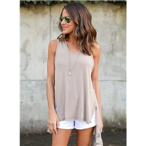 Fashion Solid High Low Hooded Tank