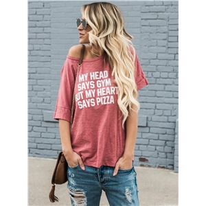 Scoop Neck Short Sleeve Letter Printed Loose Tee