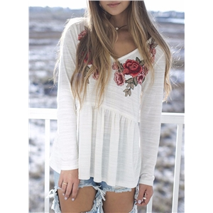 V Neck Long Sleeve Floral Embroidery Tee