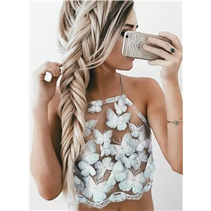 Fashion Halter Butterfly Club Crop Top