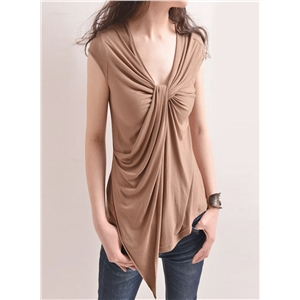 Simple Cap Sleeve Twist Draped Front Tee Shirts