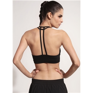 Solid Skinny Double Shoulder Strap Sports Bra