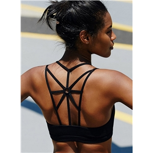 Solid Back Strappy Wire Free Sports Bra