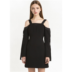 Black Flare Sleeves Dress