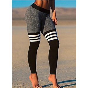 Skinny Color Block Striped Ankle Sports Leggings