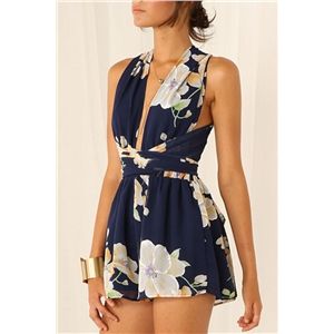 Navy Floral Crossover Rompers