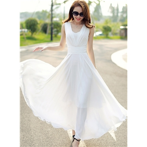 V Neck Sleeveless Chiffon Prom Dress