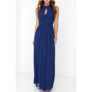 Halter Cut-out Front Backless Maxi Chiffon Dress