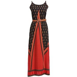 Summer Beach Printed Maxi Dress with Spaghetti Strap