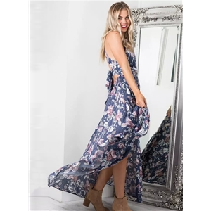 Floral Printed Halter Neck Sleeveless Maxi Dress