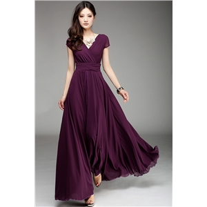 Elegant Surplice V Neckline Maxi Chiffon Dress