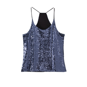 Tank Top Shiny Sequins Cut Out Sleeveless Cool Top