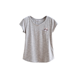 T Shirt O Neck Short Sleeve Embroidery Slim Fit Casual Style Top