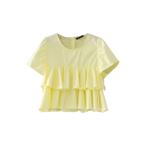Blouse Cascading Ruffle Patchwork Sweet Top