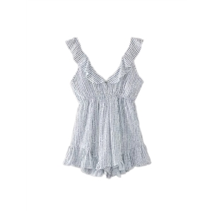 Playsuits Deep V Neck Stripe Pattern Casual Playsuits