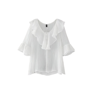 T Shirt Solid Color Ruffle Patchwork Sweet Top