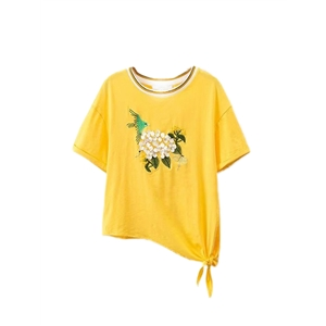 T Shirt Floral Embroidery Irregular Cut Casual Top
