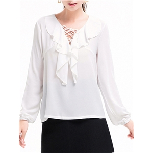 Blouse Long Sleeve Hollow Out Solid Chiffon Blouse