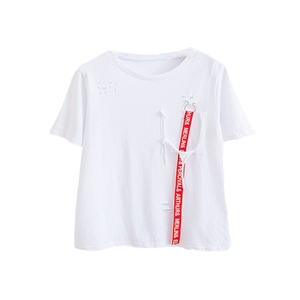T Shirt Casual Ribbon Patch Letter Short Sleeve T Shirt