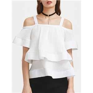 Blouse Short Sleeve Solid Color Pleated Loose Fashion Off Shoulder Top