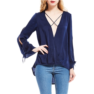 Blouse Solid Color Hollow Out Long Sleeve V Neck Sexy Top