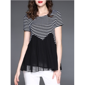 Plus Size T Shirt Patchwork Striped Pattern Slim Top