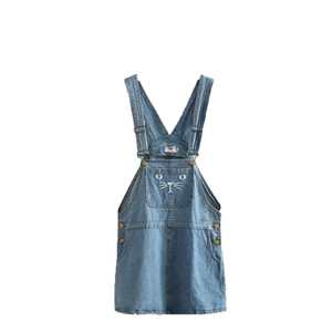 Denim Dress Cute Embroidery Suspender Dress