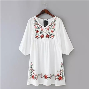 National Style Flower Embroidery Sleeve Dress