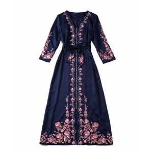 Floral Embroidery Long Dress