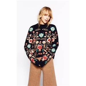 Rich Embroidery Floral Sweater