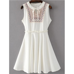 White Tribal Embroidered Tie Neck Sleeveless Dress With Zipper