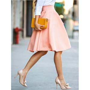 WithChic Peach Pink High Waist Midi Skater Skirt