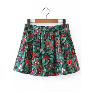 Floral Zipper Back A Line Skirt