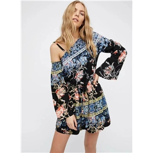 One Shoulder Long Sleeve Floral Printed Mini Dress