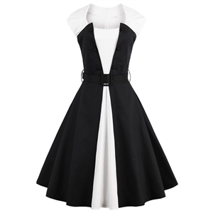 Sleeveless Color Block Party Swing Dress with Belt