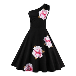 One Shoulder Floral Embroidery Swing Dress
