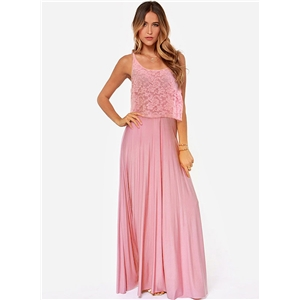 Elegant Sleeveless Lace Panel Maix Pleated Prom Dress