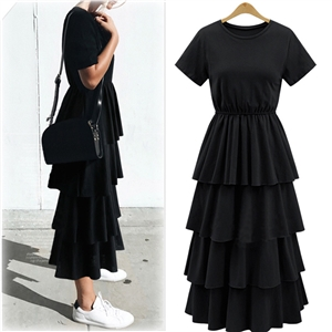 Fashion Short  Sleeve Multilayer Maxi Dress