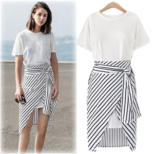 Fashion Long Tee Striped Skirt 2 Piece set