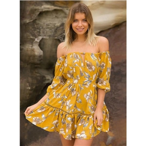 off the Shoulder Half Sleeve Tie Waist Floral Printed Dress