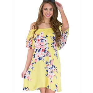 Slash Neck Floral Print Loose Dress