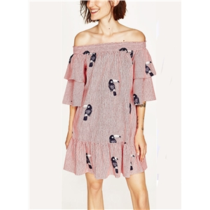 Slash Neck Bird Print Stripped Dress