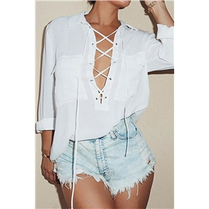 Fashion Lace-up Front Collared Blouse