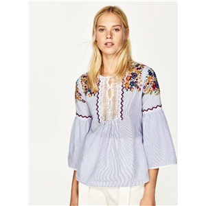 Vintage National Style Embroidery Stripped Shirt