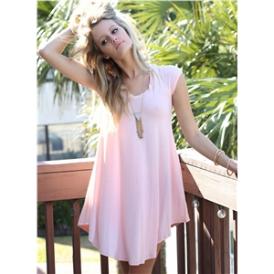 V Neck Cap Sleeve Loose Fit Irregular Mini Dress