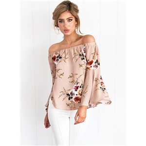 off the Shoulder Flare Sleeve Floral Printed Blouse