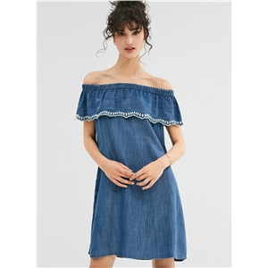 Fashion off Shoulder Ruffle Denim Dress