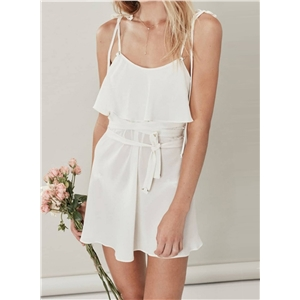 Spaghetti Strap Ruffle Sheer Mini Dress with Belt