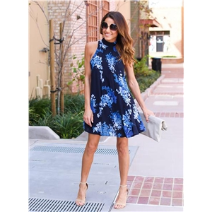 Halter Sleeveless Leaf Print Dress