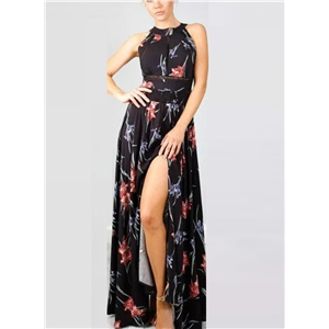 Halter Sleeveless Floral Print Maxi Dress